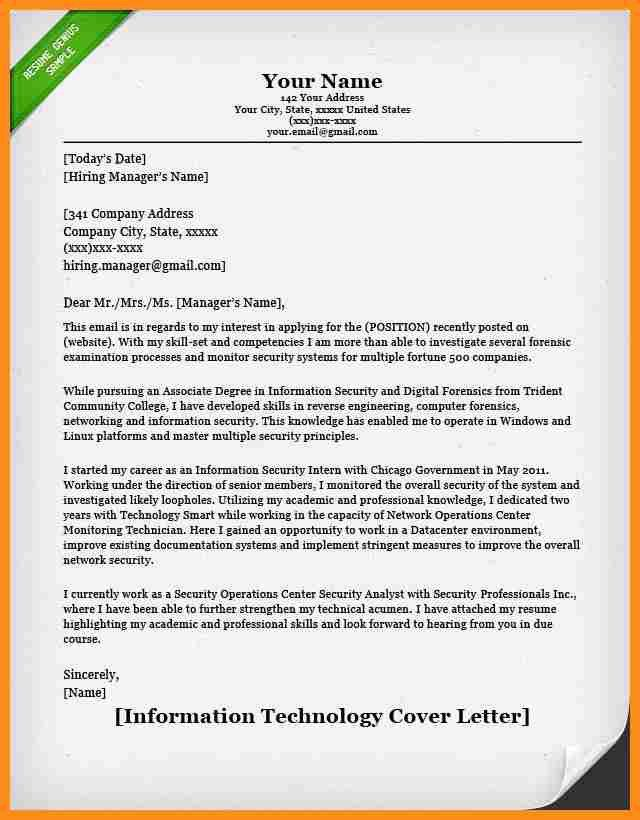 Information Technology Manager Cover Letter] Manager Cover Letter