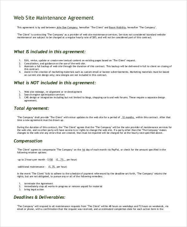 Website Maintenance Contract Boxedart Developer Downloads Website - development contract templates