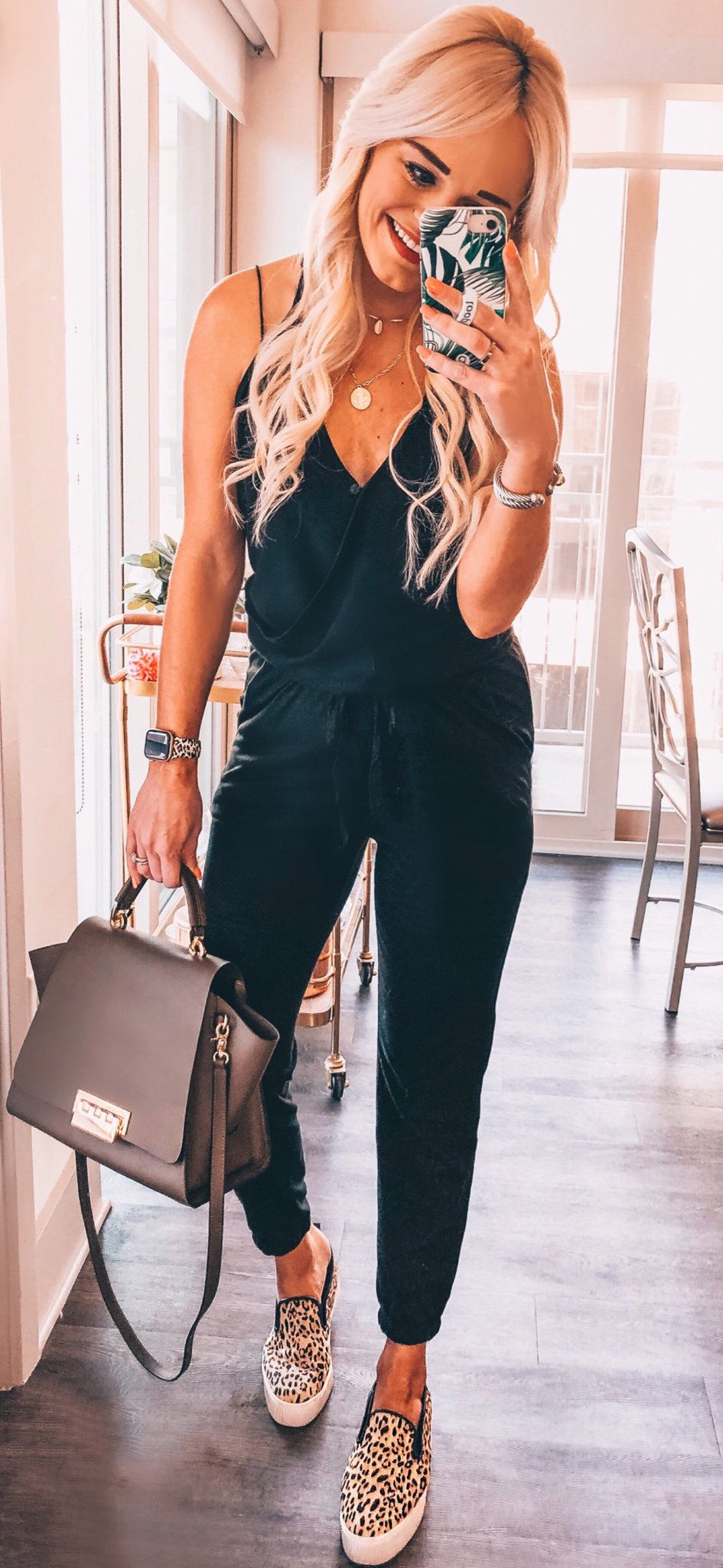 black leather 2-way bag #spring #outfits