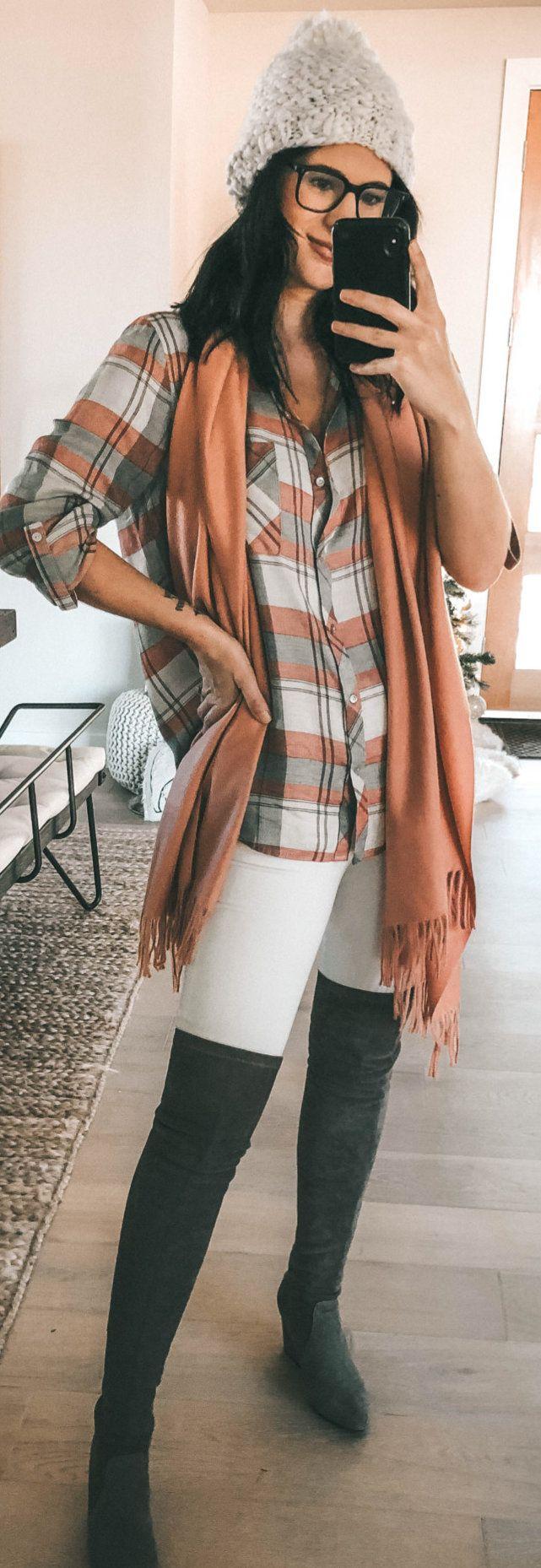 orange scarf with fringe