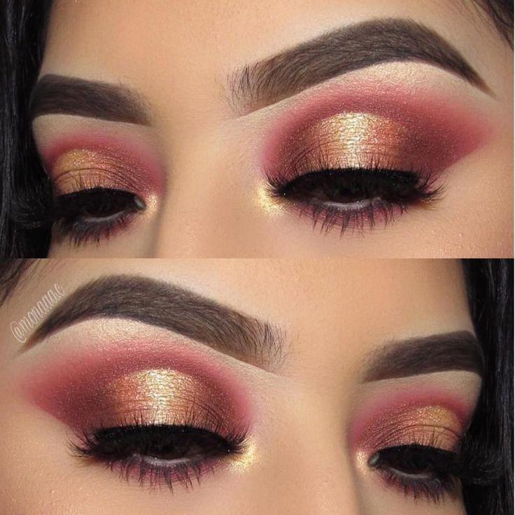 Gold and Burgundy #EyeMakeupChristmas –