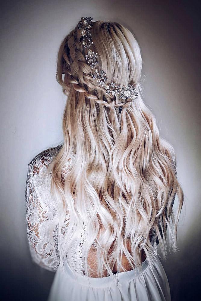 42 Half Up Half Down Wedding Hairstyles Ideas ❤️ half up half down wedding hairstyles ideas on long wavy blonde with swept braids and silver halo sp_boutique_mansfield #weddingforward #wedding #bride #weddinghair #halfuphalfdownweddinghairstylesideas