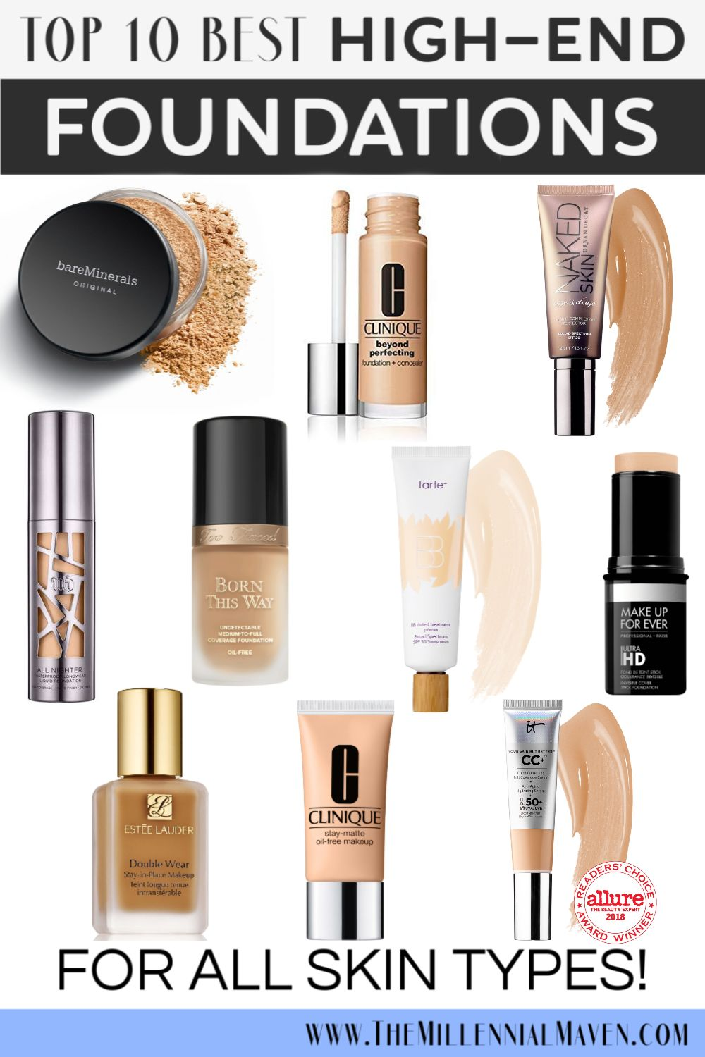 *UPDATED 2019* My 10 Favorite High-End Foundations For All Skin Types (Best Foundations at Sephora) | The Millennial Maven