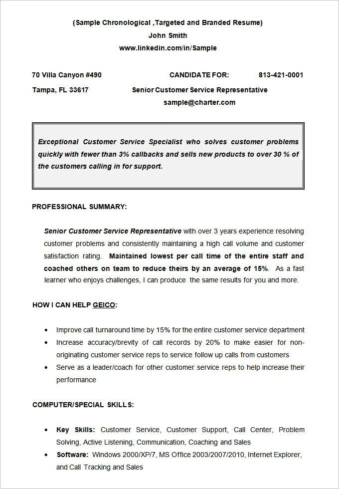 Format Of Chronological Resume Chronological Resume Template