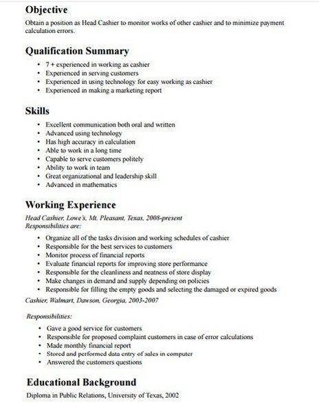 objective for cashier resume resume sample resume objective