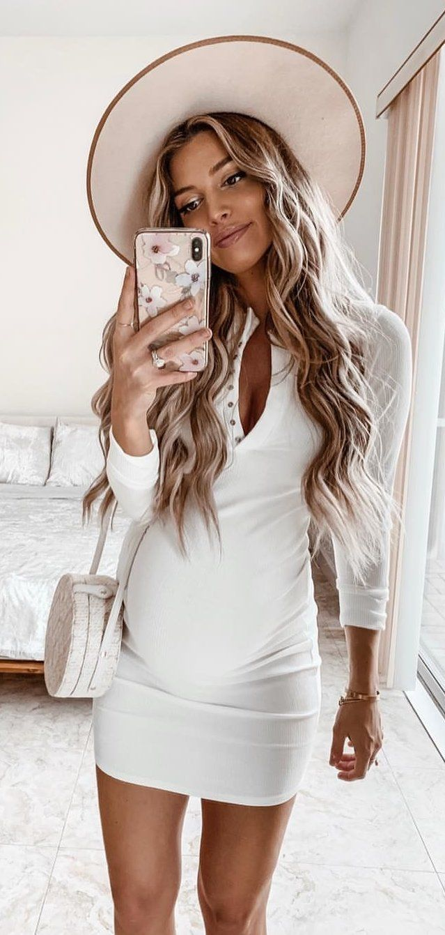 white half-button long-sleeved mini dress #spring #outfits