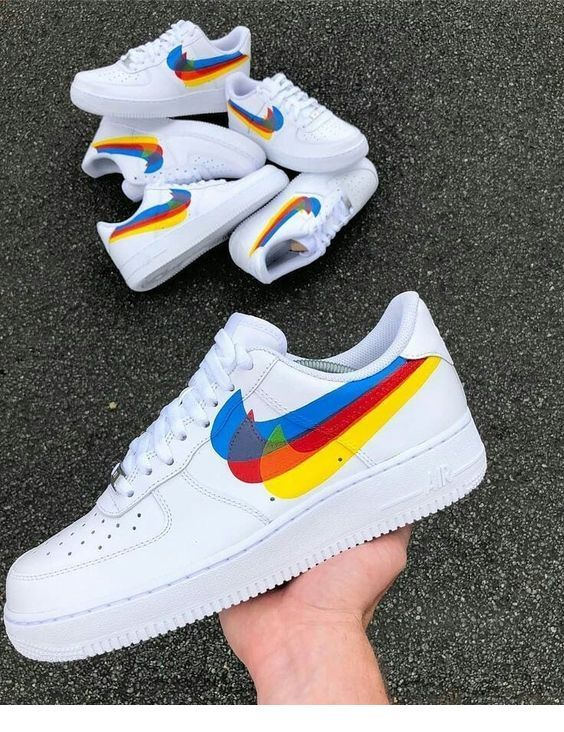 Colorful white sport shoes