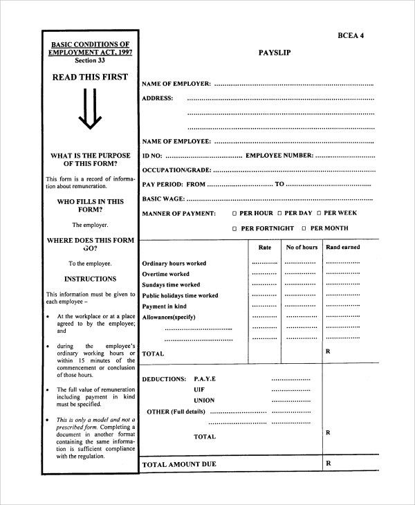 Wage Payslip Template Employee Payslip Template For Ms Excel - download payslips