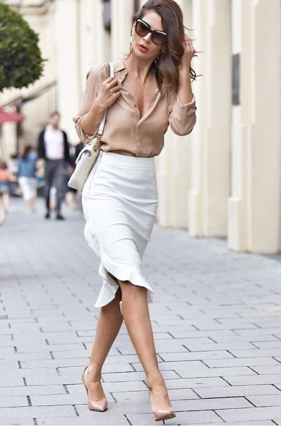 Beige shirt and white skirt