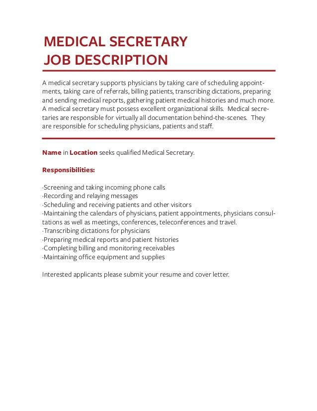 Medical Secretary Job Description Medicalsecretary 140625102249 - medical secretary job description