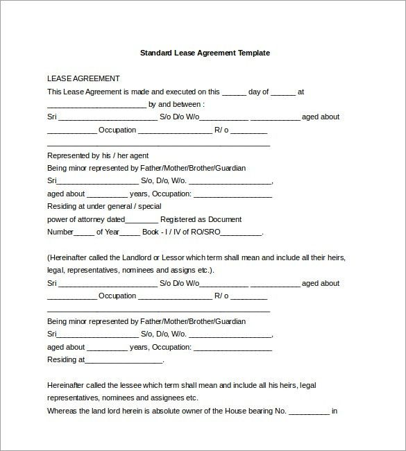 Simple Lease Agreement Template Simple Rental Agreement 34 - blank lease agreement example