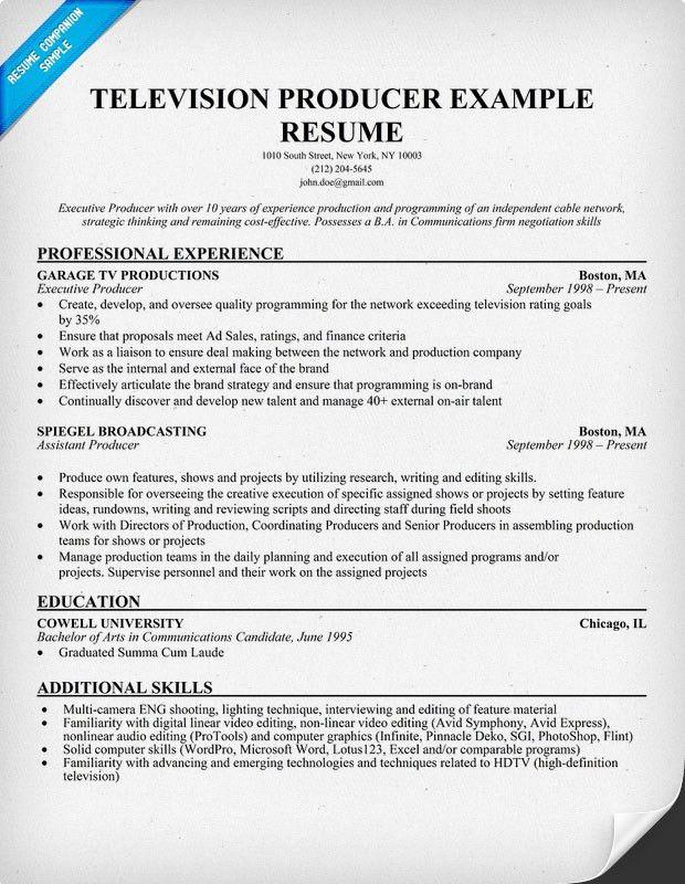 Executive Producer Sample Resume Professional Television
