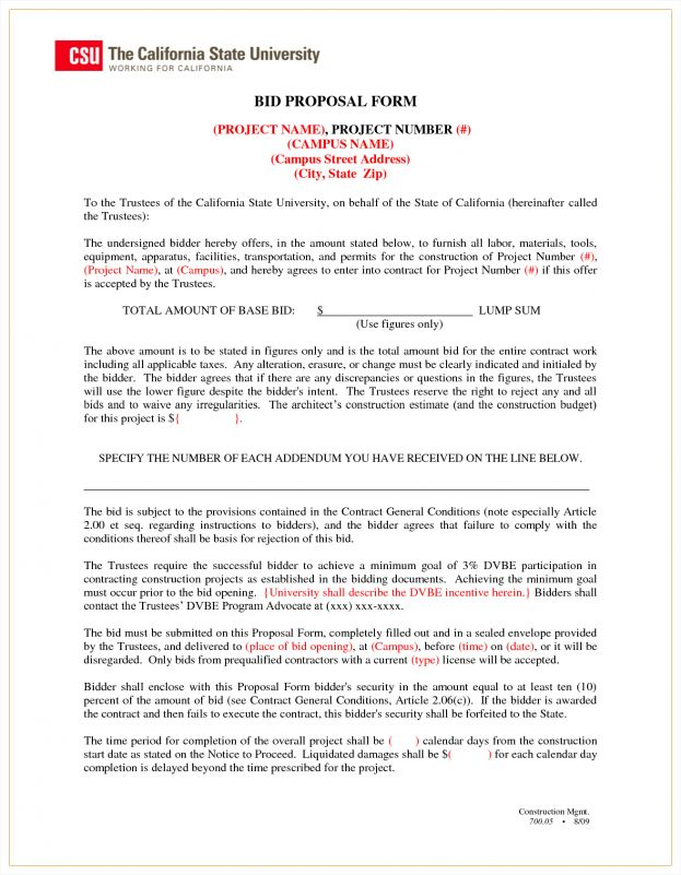 Bidding Proposal Sample Bid Proposal Template 6 Best Proposal - bid proposal forms