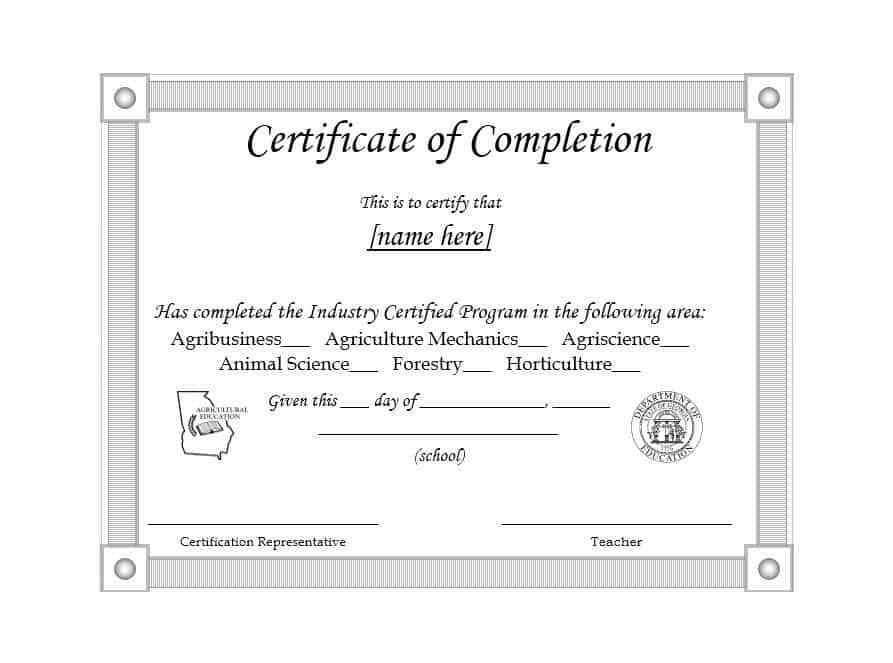 Sample Of Certificate Of Completion 13 Certificate Of Completion - sample school certificate