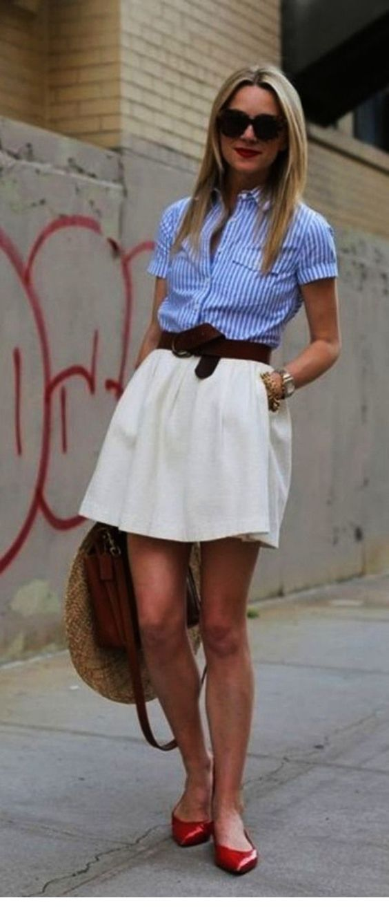 Nice blue shirt and white skirt