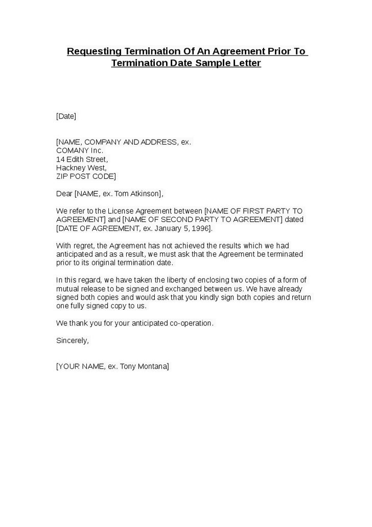 Termination Agreement Letter Template Contract Termination Letter - agreement letter examples