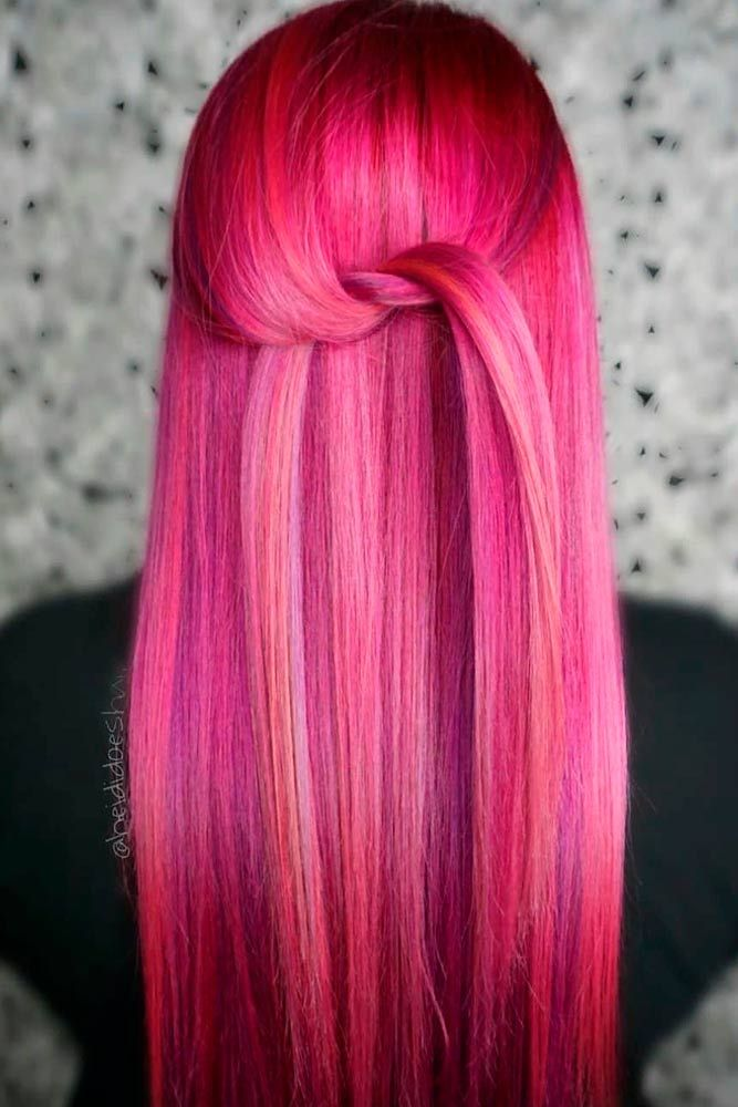 Pinky Rainbow #longhair #straighthair #colorfulhair ★ Pink hair color is full of surprises. Moreover, it can be different; as different as you want! Dive in to see the latest rose ideas. Besides hot bright highlights for long hair and pastel ombre for short locks, we've prepared a little product review for your successful DIY coloring! #glaminati #lifestyle #pinkhair