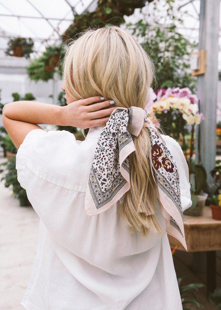 Head Scarf, Tied Scarf, Hair Scarf, Bandana, Floral Scarf, Hair accessories, Retro Hair Inspiration, How to wear a head scarf, Headband, Spring Fashion, Cotton bandana