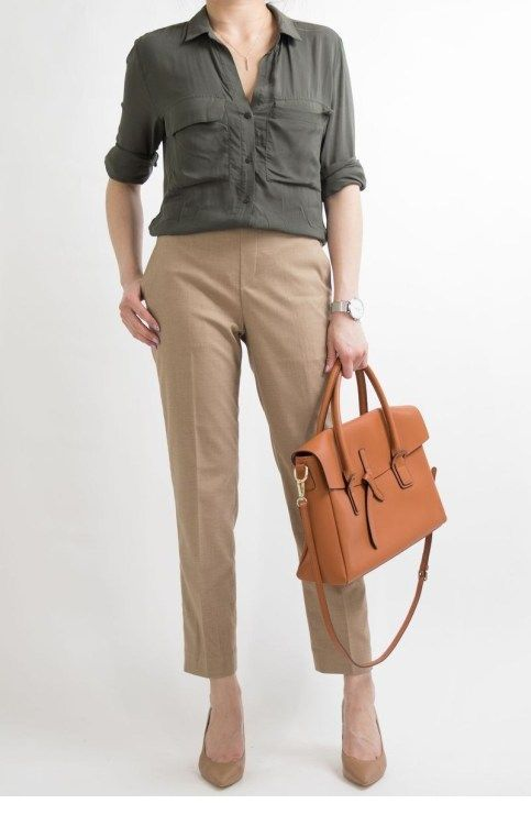 Olive shirt and brown pants