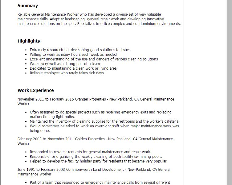 Maintenance Worker Resume Sample Professional General Maintenance
