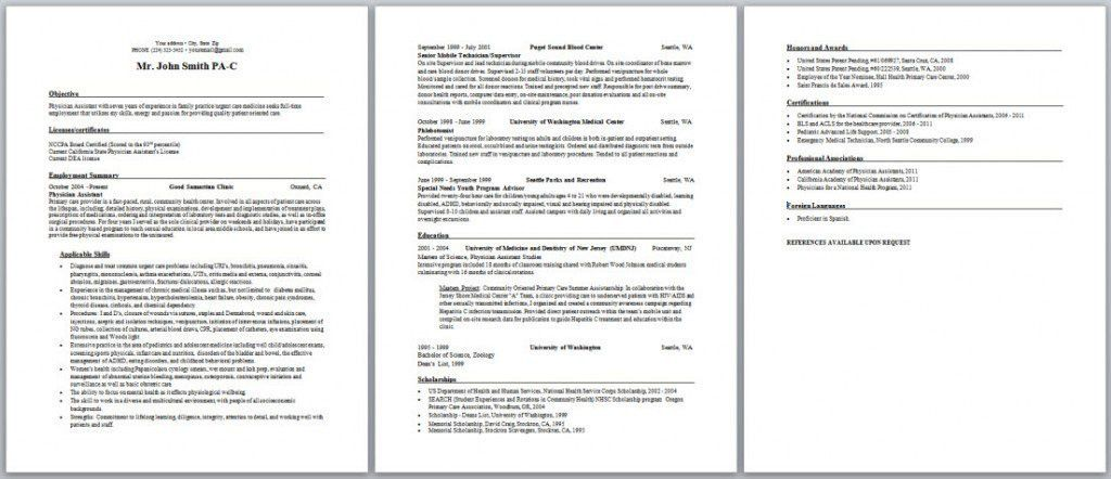 Physician Assistant Resume Examples - Examples of Resumes