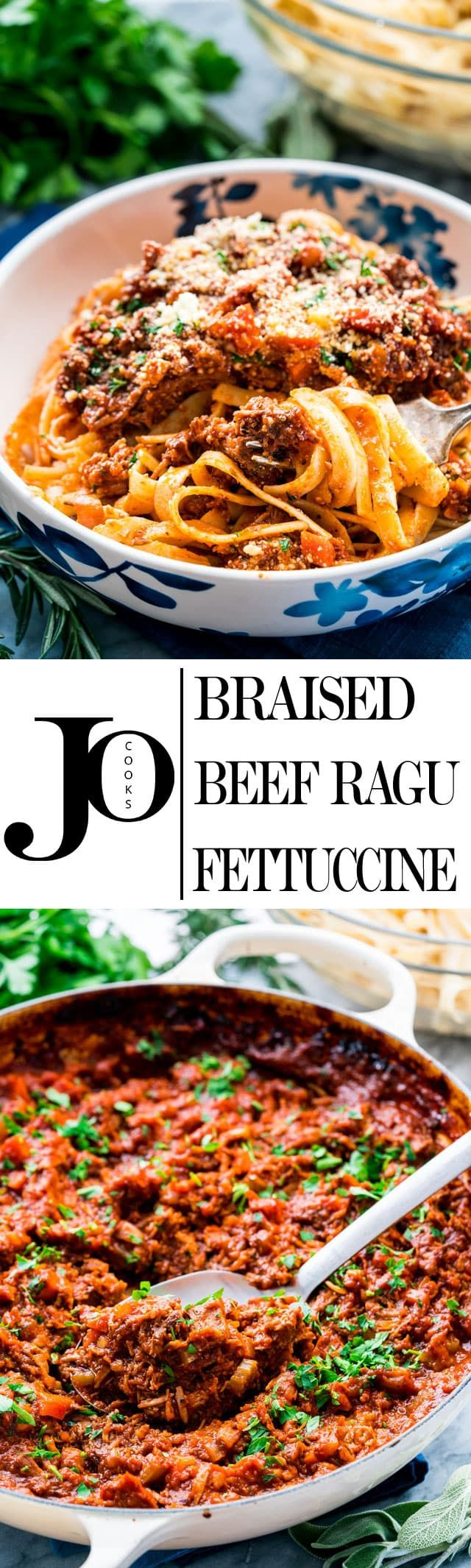 I give you Braised Beef Ragu Fettuccine for when you need a comforting and delicious dish. This slow braised, fall-apart-tender beef is cooked in a rich tomato and veggie sauce served over a bed of al dente fettuccine. www.jocooks.com #ragu