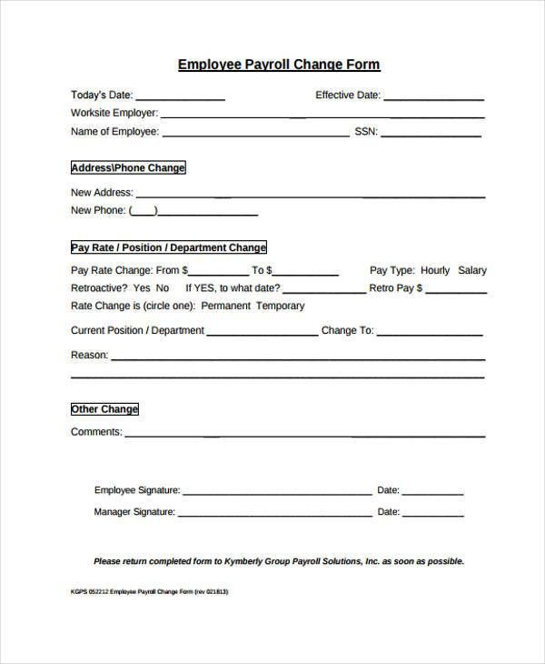 Payroll Forms Templates Sample Blank Payroll Form Template 8 Free - employee change form
