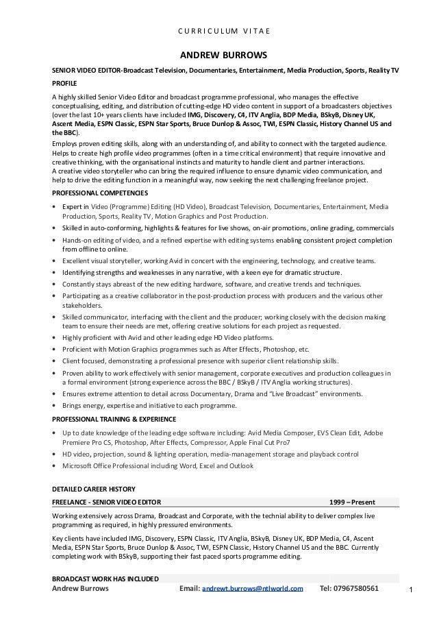 video editor resume sample