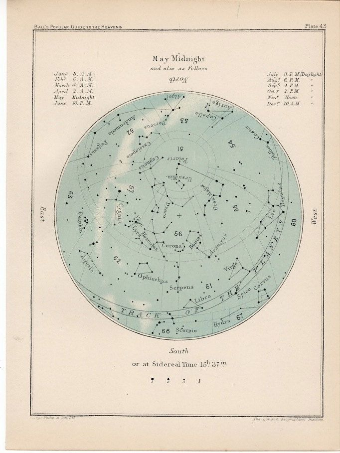 1910 may month rare celestial star map original antique astronomy print lithograph X gemini taurus. $40.00, via Etsy.
