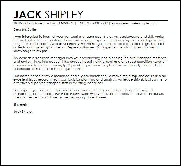 ... Sample Logistics Cover Letter Logistics Coordinator Cover Letter   Transportation  Consultant Cover Letter ...