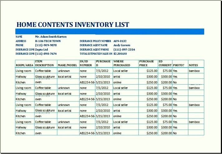 Household Inventory List Template Home Inventory Template 7 Free - inventory list template