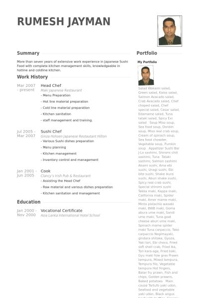 Sushi Chef Resume Example - Examples of Resumes - sushi chef resume