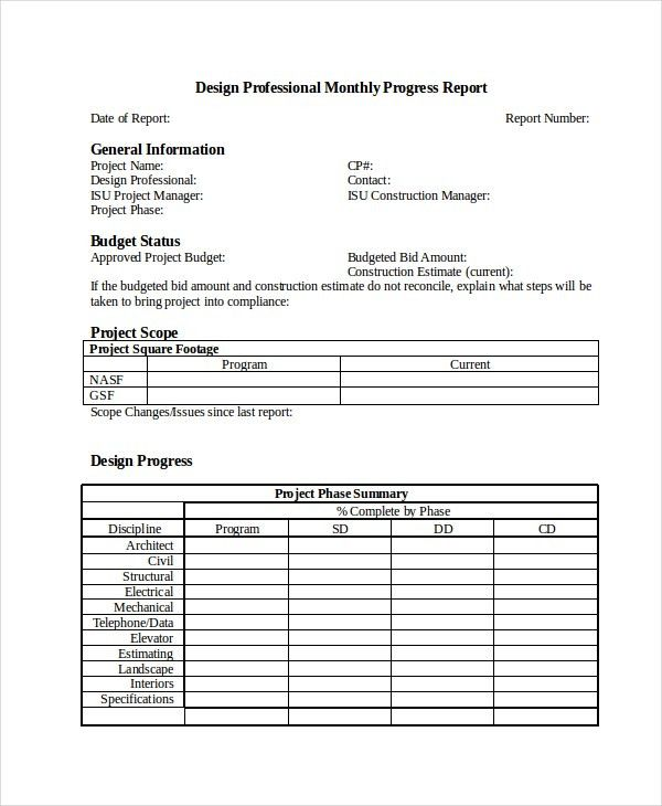 Monthly Status Report Template Word Monthly Management Report - job progress report