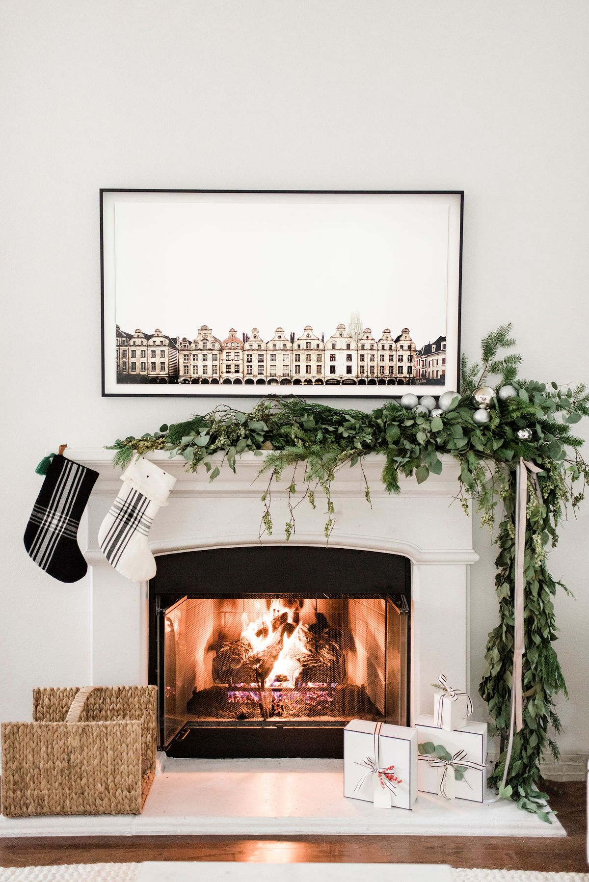 Minimal & Merry Holiday Home Tour with The Identité Collective | Fireplace Holiday Decor