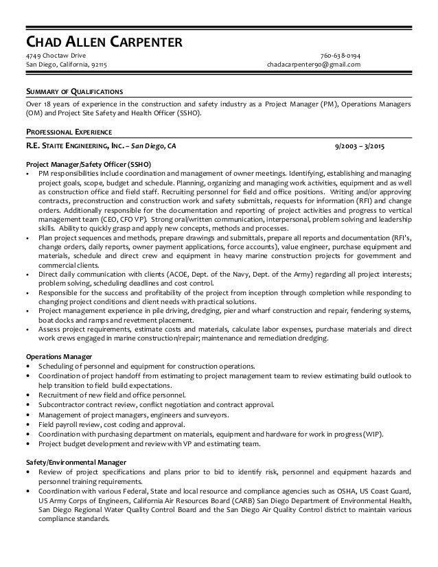 carpentry resume template
