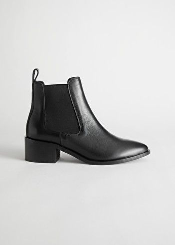 Leather Pointed Toe Chelsea Boots - Black - Chelseaboots - & Other Stories