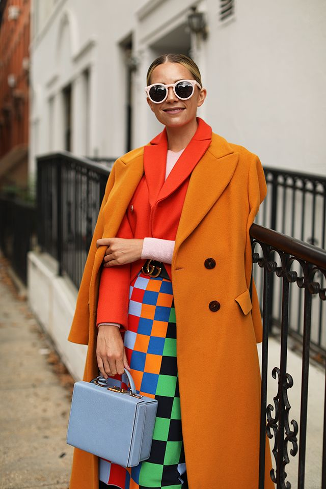 Orange Blazer Coat, Tory Sport Colorful Skirt | Colorful Fall Style