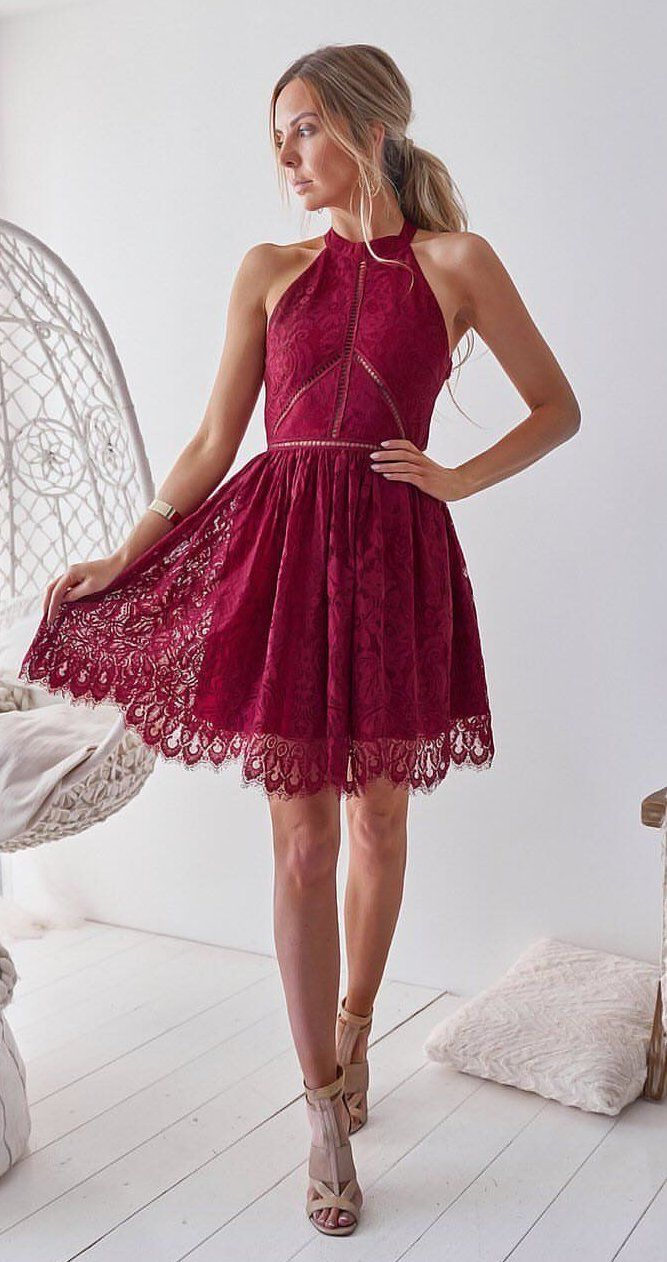 red lace halter dress #spring #outfits