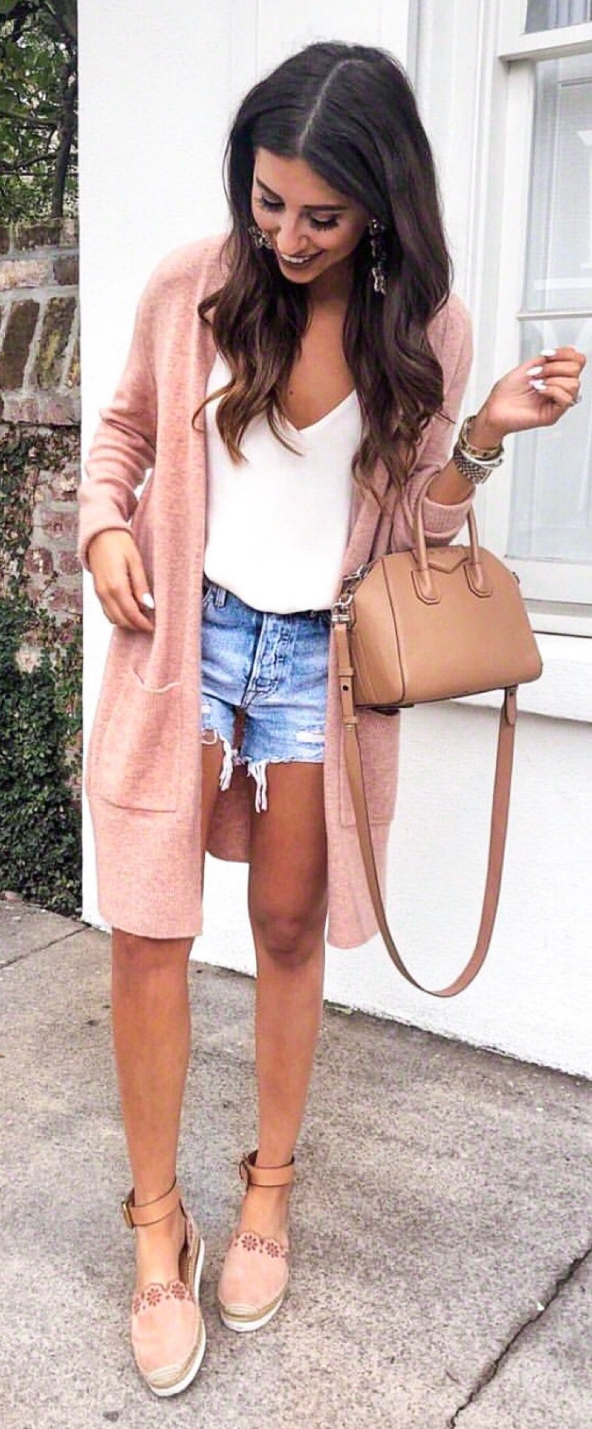 brown leather zip-up jacket #winter #outfits