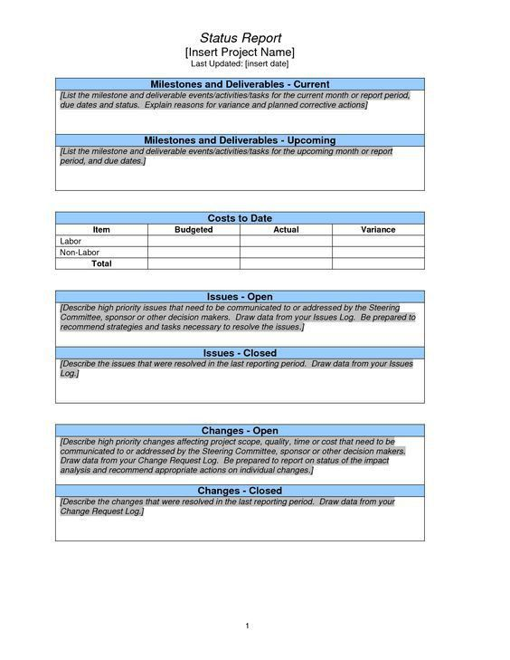 Project Management Status Report Template Project Management - sample project report
