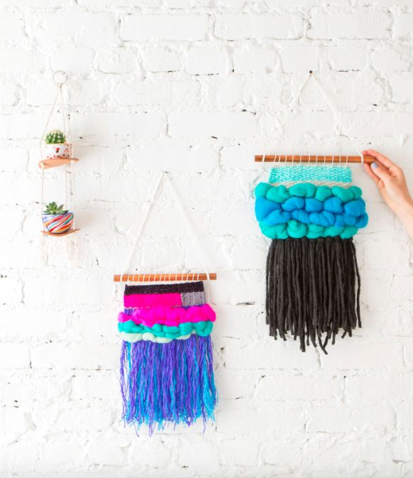 A woven wall hanging is a great statement for your living space. 😇🙏 This Craft Month, weave your way to creativity with our DIY weaving class! Your teacher, artist Meghan Shimek, will show you basic weaving, roving and creating fringe. Shop on brit.co! #IAmCreative #BCClasses