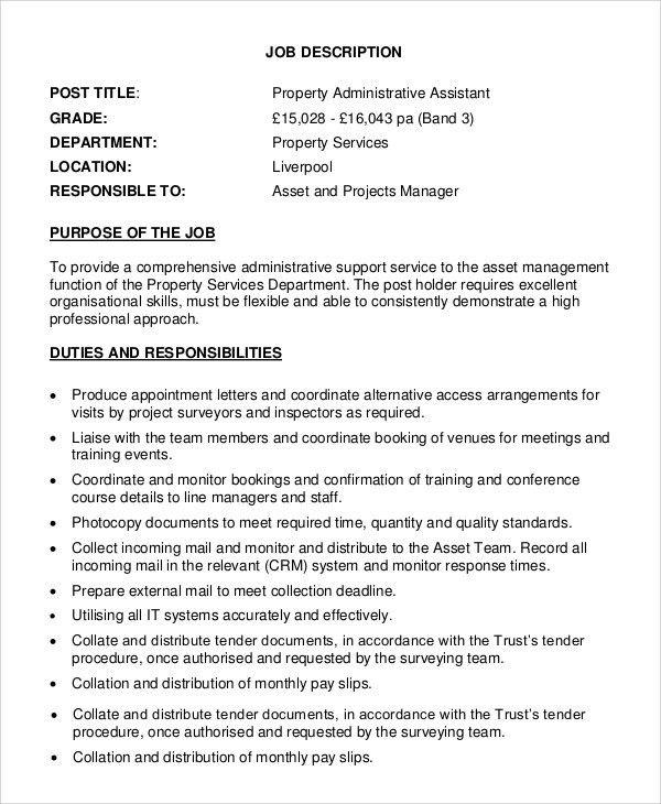 Medical Administrative Assistant Job Description Job Description - assistant manager job description
