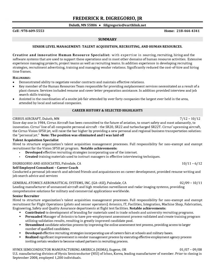 Talent Acquisition Specialist Sample Resume Professional Talent
