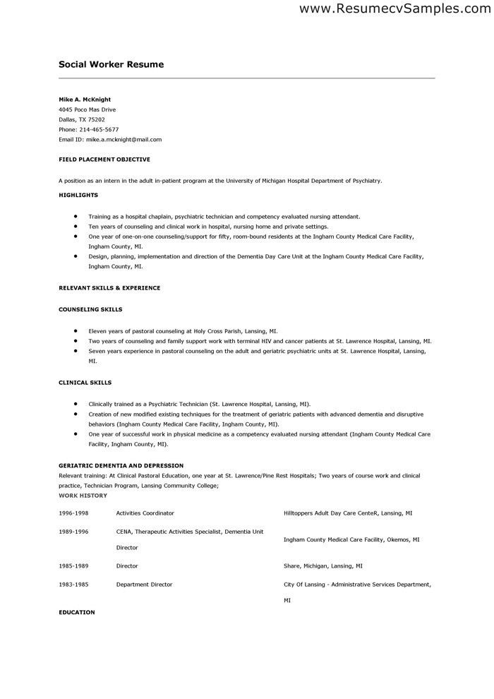 Social Work Resume Objective Examples Social Work Resume Examples - social worker resume objective