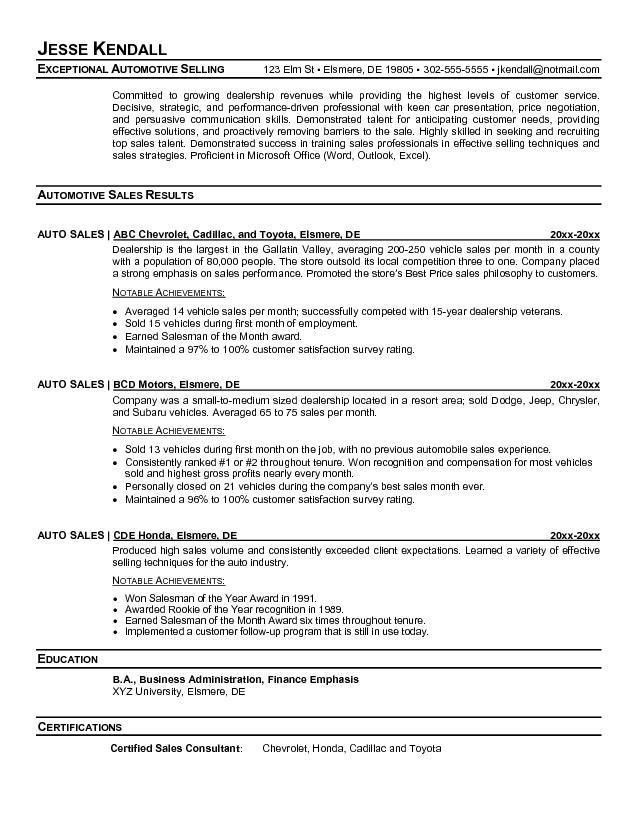 car salesman resume samples car sales cover letter job sales