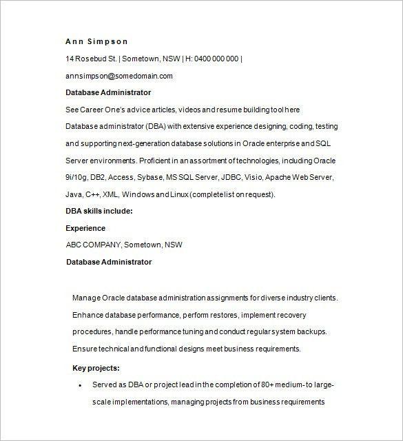 Administration Resume Format Administration Cv Template Free - sample database administrator resume