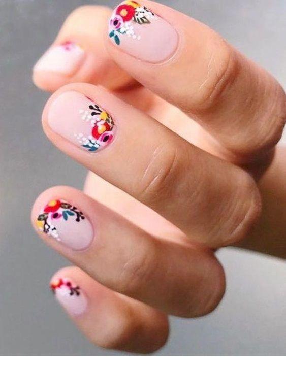 Colorful floral nails design