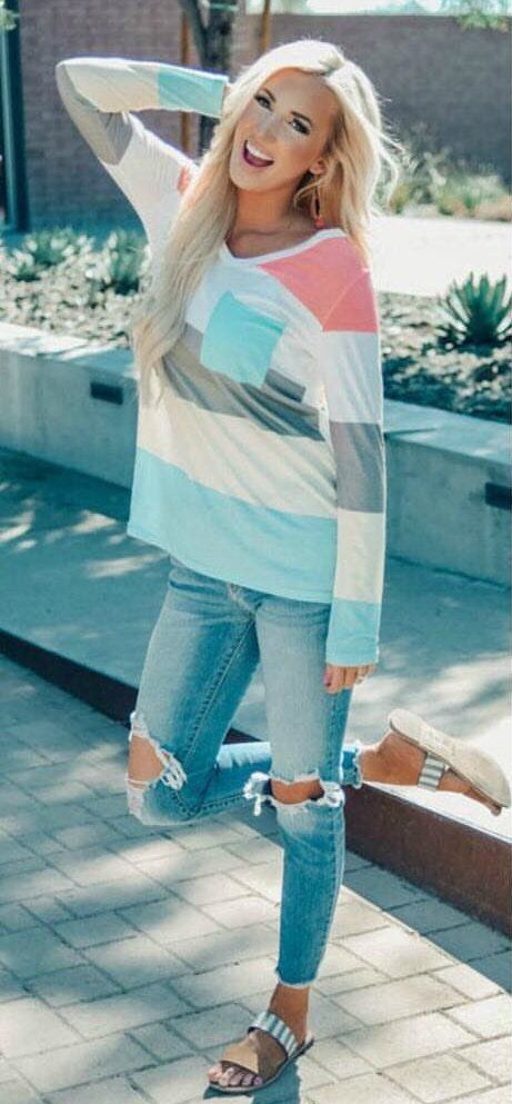 multicolored striped long-sleeved shirt #spring #outfits