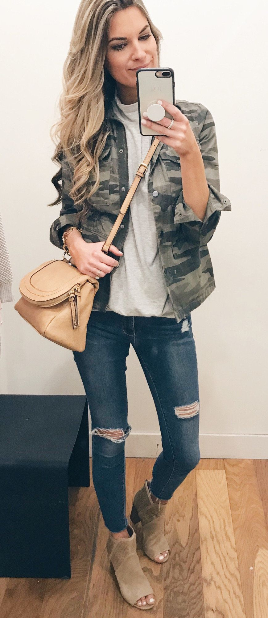 green and gray camouflage zip-up jacket #spring #outfits