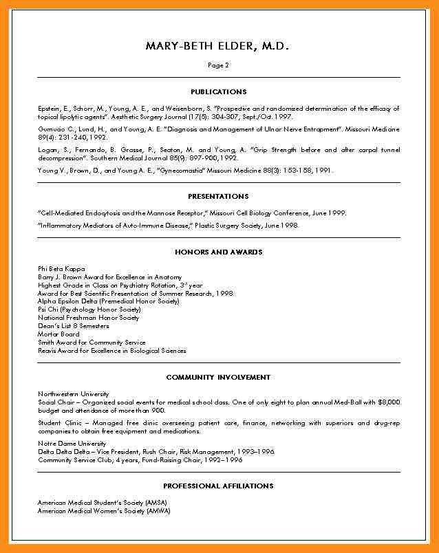 Medical School Resume Format Medical School Admissions Resume